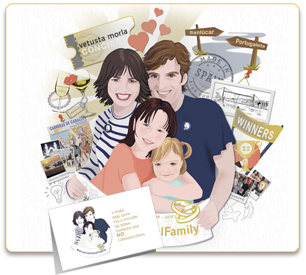 Ejemplo Ilustracion personalizada para regalo de boda