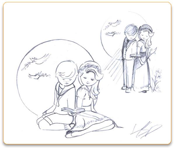 Bocetos de Ilustraciones personalizadas de Primera Comunión